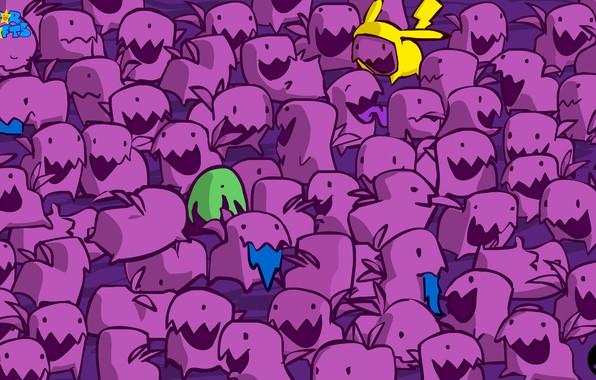 Картинка фиолетовый, зеленый, зубы, пикачу, уши, чудики, purple, star crafts