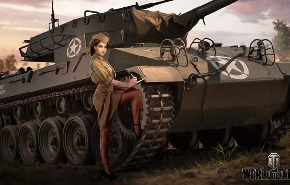 Фото обои Nikita Bolyakov, арт, M18 Hellcat, WOT, World of Tanks, форма, рисунок, девушка, пт-сау, пилотка, американская