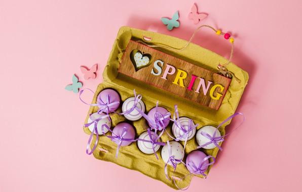 Картинка бабочки, фон, розовый, весна, Пасха, pink, spring, Easter, purple, eggs, decoration, Happy, яйца крашеные