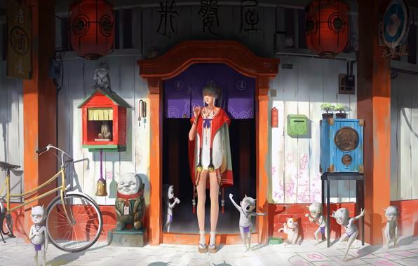 Картинка girl, fantasy, bicycle, dress, legs, artist, blonde, artwork, fantasy art, door, braids, kimono, goblin, Zeen …