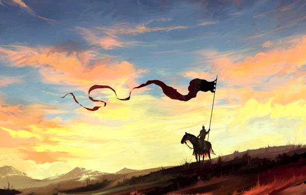 Картинка fantasy, sky, landscape, nature, clouds, painting, dragon, horse, digital art, artwork, countryside, fantasy art, Knight, ...