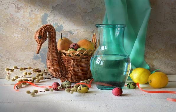 Картинка стол, корзина, яйца, лента, кувшин, фрукты, натюрморт, Праздник, груши, верба, лимоны, драпировка, утица, Светлая Седмица