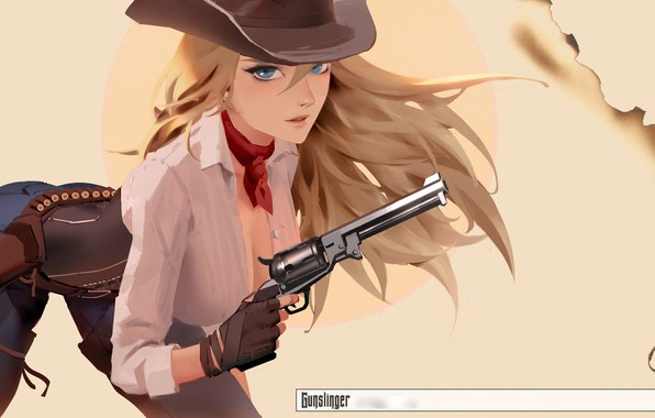Картинка girl, gun, weapon, hat, anime, art, blue eyes, blonde, artwork, revolver, scarf, shirt, gloves, girls …