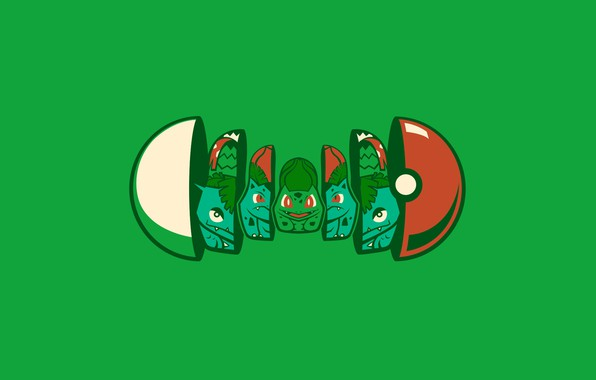 Картинка цветок, зеленый, семя, покемон, pokemon, pokeball, матрешка, покебол, бульбасавр, венузавр, травяной, луковка, ивизавр