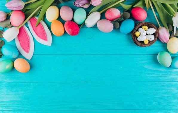 Картинка цветы, яйца, colorful, Пасха, тюльпаны, wood, pink, flowers, tulips, spring, Easter, eggs, violet, decoration, Happy, …