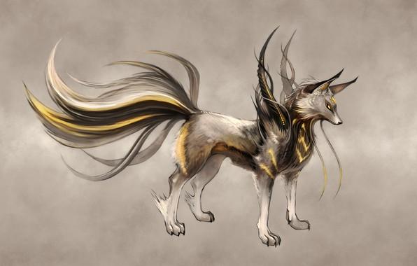 Картинка Digital Art, yellow eyes, Ninjatic, artwork drawings, askal, fiction animals