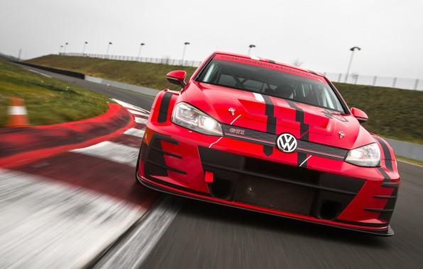 Картинка Volkswagen, гоночный трек, Golf, GTI, 2018, TCR
