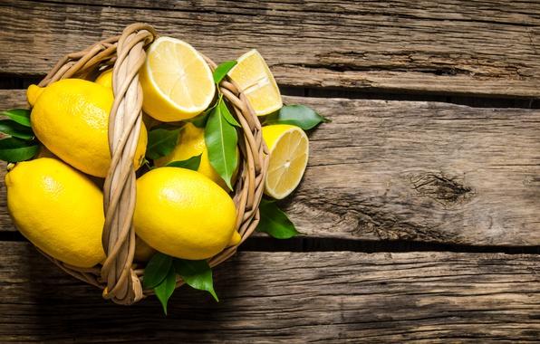 Картинка доски, корзинка, лимоны
