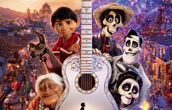 Картинка город, огни, люди, мультфильм, гитара, собака, фэнтези, Disney, постер, скелеты, PIXAR, Coco, Тайна Коко, Miguel