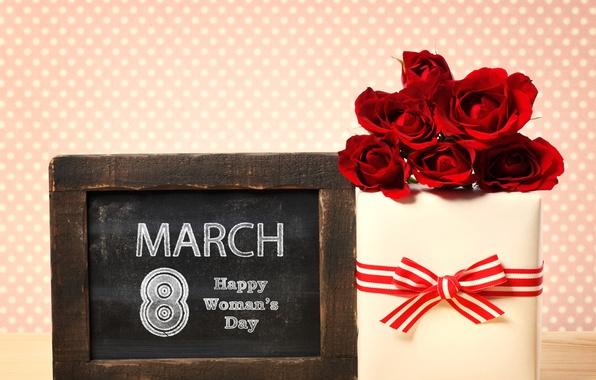 Картинка цветы, фон, подарок, табличка, розы, красные, 8 марта, ленточка, дата, коробочка, женский день