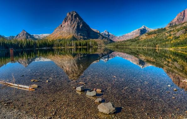 Картинка лес, небо, вода, солнце, деревья, горы, озеро, отражение, камни, скалы, США, Glacier National Park, Medecine …