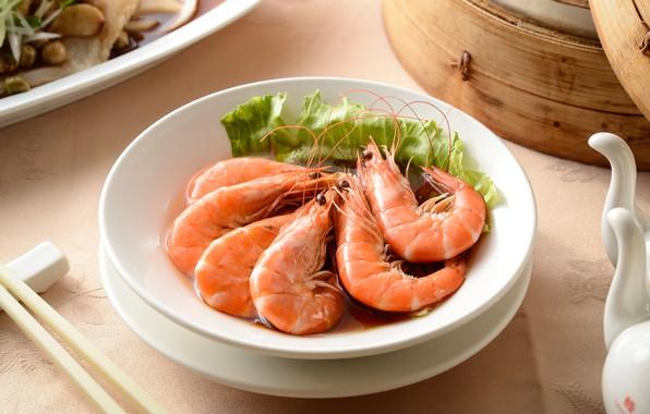 Картинка зелень, креветки, морепродукты
