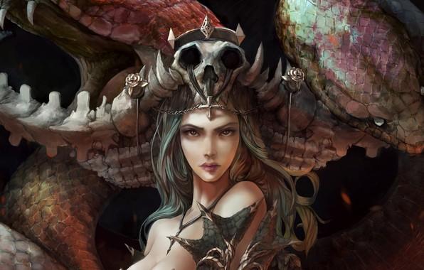 Картинка skull, girl, fantasy, snake, Queen, crown, face, artwork, fantasy art, fantasy girl, dark queen