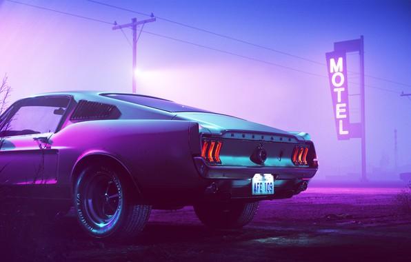 Картинка 1969, Ford Mustang, Neon, Motel