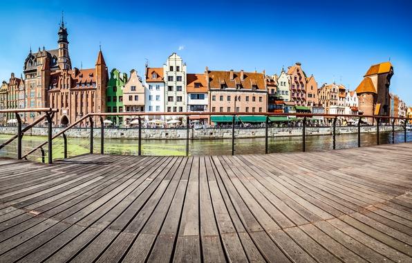 Картинка небо, река, корабль, дома, парусник, Польша, канал, солнечно, набережная, Гданьск