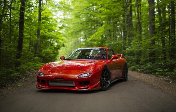 Картинка дорога, лес, красный, спорткар, Mazda RX-7