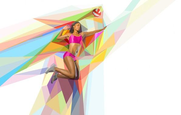 Картинка прыжок, мяч, волейбол, low poly, волейболистка