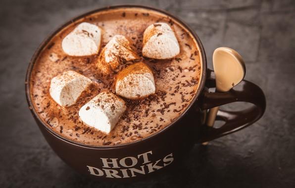 Картинка кофе, шоколад, напиток, корица, какао