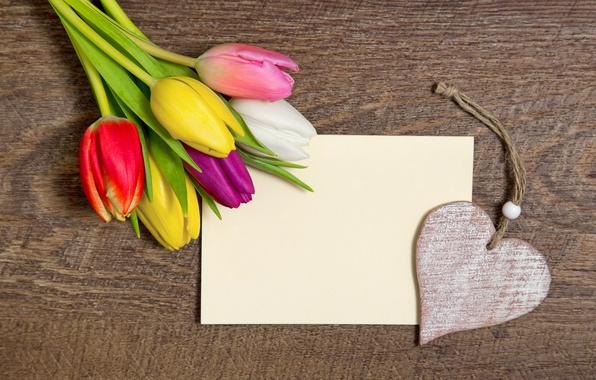 Картинка романтика, сердце, букет, colorful, тюльпаны, love, heart, wood, romantic, tulips, с праздником!