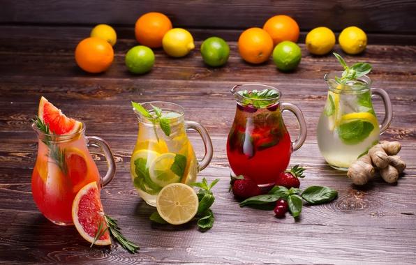 Картинка лимон, клубника, напитки, мята, грейпфрут, фреш, лимонад, имбирь, фрукты и ягоды