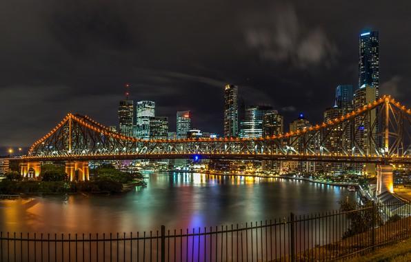 Картинка ночь, мост, огни, река, дома, Австралия, фонари, набережная, Брисбен