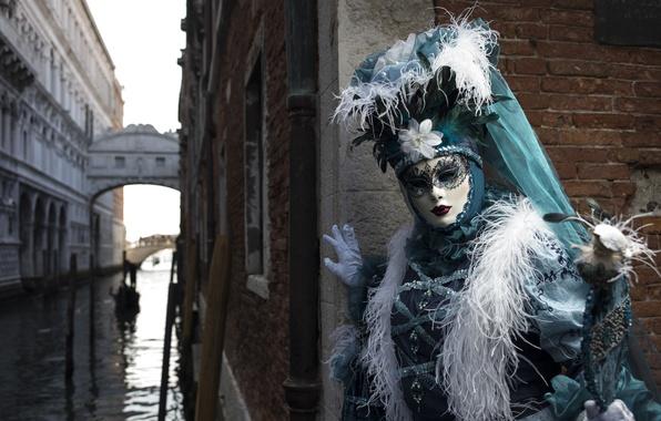 Картинка перья, маска, костюм, Венеция, канал, карнавал