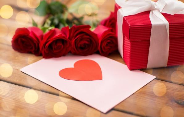 Картинка red, love, heart, romantic, gift, roses, valentine`s day