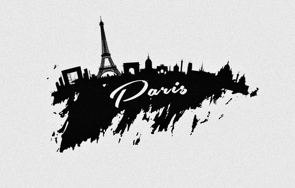 Картинка город, Париж, вектор, силуэт