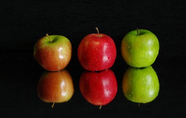 Картинка вода, капли, макро, отражение, яблоки, фрукты
