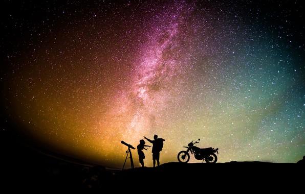 Картинка космос, романтика, звёзды, звёздное небо, starry sky, romantic couple