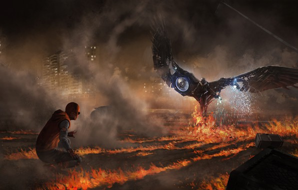 Картинка ночь, фантастика, огонь, пламя, дым, рисунок, арт, искры, схватка, комикс, MARVEL, Spider-Man, Peter Parker, Vulture, …