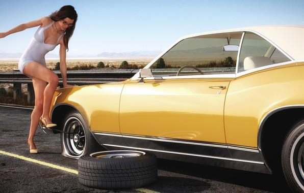 Картинка женщина, автомобиль, ремонт, Buick Riviera, Flat tire in the desert