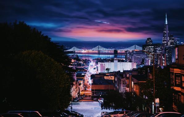 Картинка car, city, lights, USA, sky, trees, bridge, night, California, clouds, San Francisco, street, houses, buildings, …