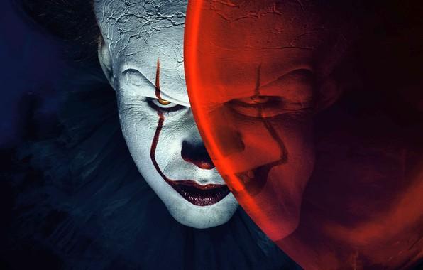Картинка взгляд, улыбка, фильм, шарик, клоун, актер, ужасы, грим, оно, Билл, Скарсгорд