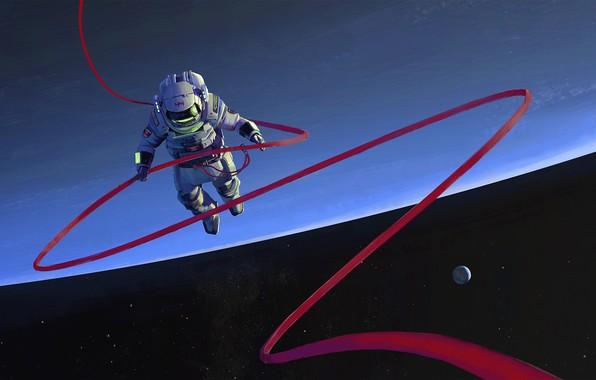 Фото обои space, fantasy, stars, cosmos, planet, digital art, artwork, fantasy art, helmet, space suit, Astronaut, space ...