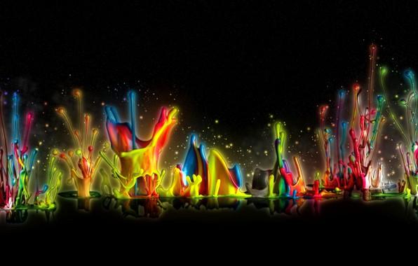 Картинка капли, отражения, рендеринг, краски, всплески, черный фон, радужные цвета