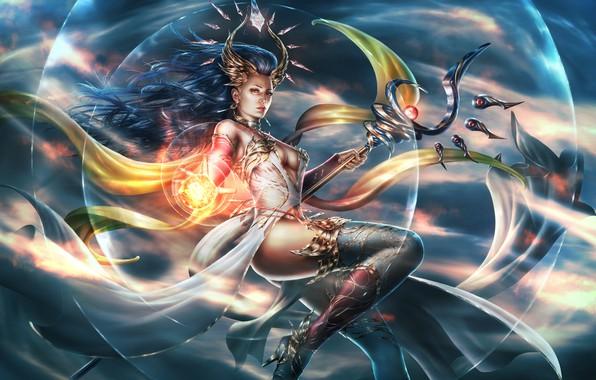 Картинка грудь, девушка, фантастика, магия, ноги, волосы, арт, маг, посох, lana solaris