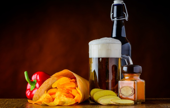 Картинка пена, бутылка, пиво, кружка, перец, чипсы