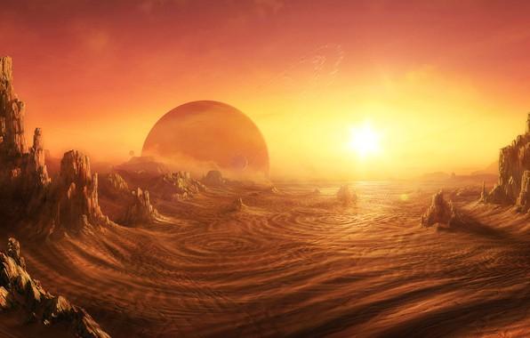 Картинка Пустыня, sunrise on alien planet, Daniel Kvasznicza