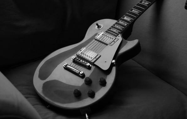 Картинка black & white, гитара, струны, черно-белое, guitar, gibson, les paul