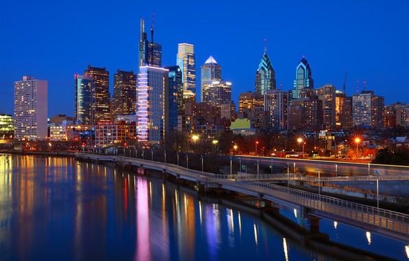 Картинка ночь, огни, река, США, Филадельфия, Philadelphia