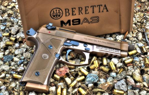 Картинка пистолет, гильзы, Beretta, M9A3