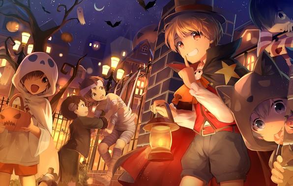 Картинка ночь, дети, аниме, арт, костюмы, хеллоуин