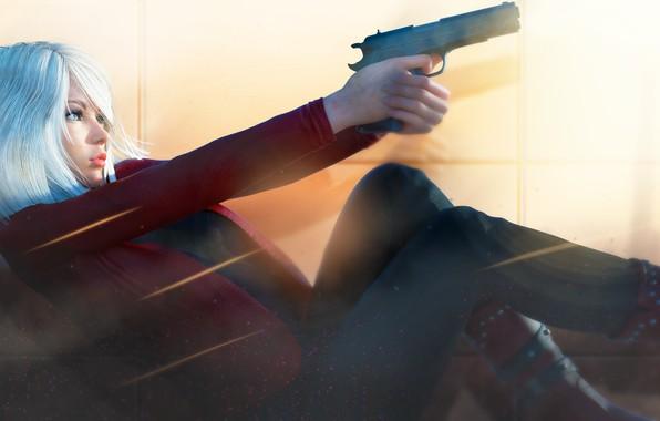 Картинка девушка, поза, рендеринг, пистолет, блондинка, профиль