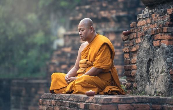 Картинка Стена, Поза, Портрет, Религия, Монах, Медитация
