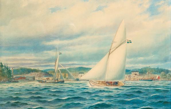 Картинка морской пейзаж, Jacob Hägg, marinus, 1874 г, Узкий вход в Стокгольмский архипелаг
