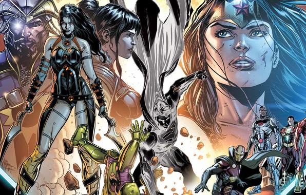 Картинка Герои, Костюм, Драка, Супермен, Комикс, Heroes, Плащ, Wonder Woman, Superheroes, Superman, Кларк Кент, Киборг, DC …