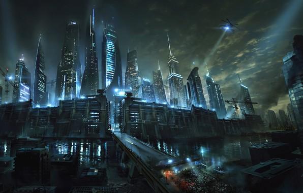 Фото обои дорога, ночь, город, река, фантастика, стена, небоскребы, арт, Бегущий в лабиринте, Maze Runner, Death Cure, ...
