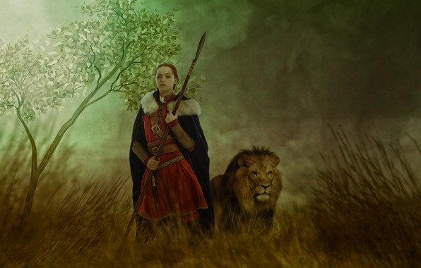 Картинка девушка, дерево, лев, воительница, копьё