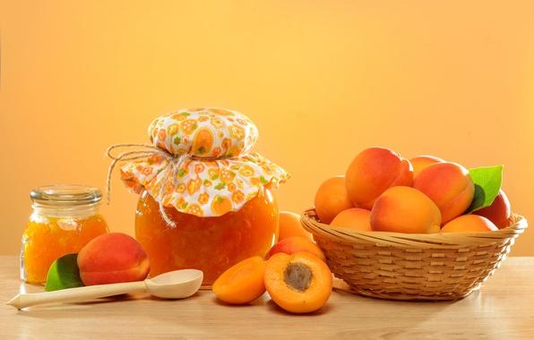 Картинка фрукты, wood, джем, абрикосы, apricot